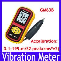 EMS/DHL Free shipping GM63B Digital Vibrometer, vibrometer tester,Vibration Meter 0.1-199.m/S2 peak(rms*v2),12pcs/lot