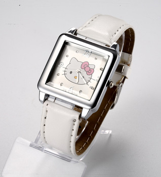 Luxury Hello Kitty Lady's children Wrist Watch Time clock hours Quartz squareness Dial white Leather Band