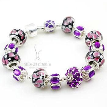 2013 Новое прибытие моды в европейском стиле 925 Серебряный браслет с фиолетовым ...