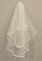 $19.9 Only!!! High quality 2T soft material waist length white/ivory wedding bridal veils
