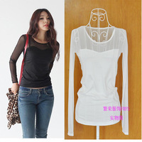 sexy gauze lace  shirt female long-sleeve plus size slim patchwork t-shirt ,frfs 06