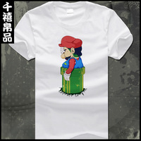 Super Mary T-shirt Mario sweethearts outfit cartoon T-shirt man short sleeve add fertilizer+ Free shipping
