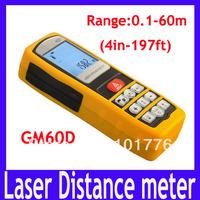 Free shipping Professional 60m 197ft Handheld Digital Distance Meter Area Volume Laser Range Finder Accuracy +/- 1.5mm ,2PCS/LOT