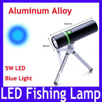 Free shipping Aluminum alloy led flashlight torch \ 5W blue LED fishing light,MOQ=1