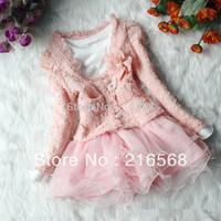 1set girls lace suit flower coat + long sleeve dress clothing set children spring autumn sweet garment baby casual wear LJ121