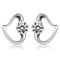 100% pure 925 sterling silver platinum plated heart crystal stud earrings GE024