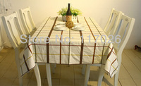 Free shipping white check table cloth linen printed table cloth 140X220cm LS-002