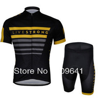 free shipping!2013 Livestrong team short sleeve cycling jersey and shorts,summer bike wear,bicycle jersey,cycle clothes