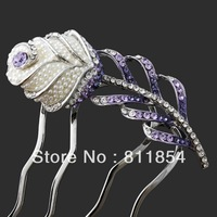Free Shipping/Wholesale/Top quality/Bridesmaid Bridal Comb purple Austria Crystals rose flower Wedding Hair sticks Accessories