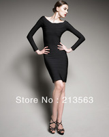 Celebrity HL Free Shipping Black Long Sleeve Women Ladies BodyCon Bandage Sexy Party  Cocktail Dress HL 507 XS S M L