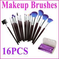 NEW!! 16 pcs/set , Makeup Brush Kit Facial Make up Cosmetic Brushes + Purple Leather Case, Free Shipping Dropshipping wholesale