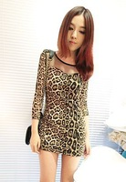 6 free shipping 2013 fashion newest women sexy leopard grain full sleeves sheath mini dresses ladies club  dresses