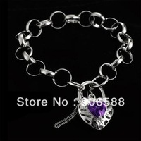 Free shipping Brand New 18ct Gold Filled Heart Padlock Purple crystal   Women's Fashion Bracelet  B206