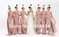 Wholesale Seven Style Glamorous Sweetheart Sleeveless Backless Pleat Chiffon Bridesmaid Dress 2012 FB81
