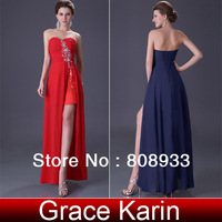 Free Shipping! Grace Karin 1pc/lot Strapless Sexy Slit Front Long Beaded Ball Prom Dresses CL3443