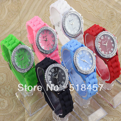 Vintage Nice Crystal Jelly Silicone Band Girls Boys Casual Wrist Watch Watches Free Shipping 8 Colors(China (Mainland))