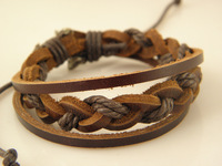 Best Selling Men's Genuine Leather Braided  Bracelets Best Quality Factory Price Mix Order