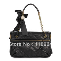 Free Shipping+ New Quilted Shoulder Black PU Leather Bag Medium Gold Hdwre more color