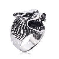PUNK rock gothic Men's Big Bad Wolf finger ring in stainless steel guaranteed 100% free shipping in wholesale