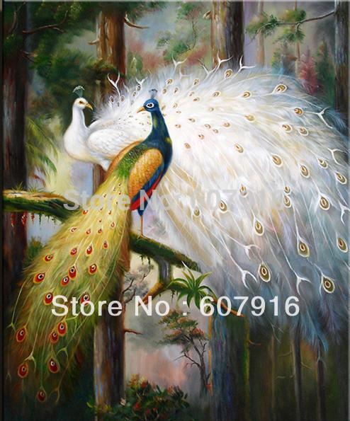 """Alta qualidade da arte da pintura a óleo: dois machos pavões no amor 24"""" x36"""" polegadas"""