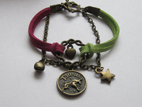 Retro Twelve Constellation Bracelet---Antique Bronze Taurus Lucky Ring Bracelet & Colorful Flocking Rope Alloy Chain- J011