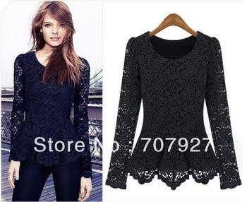 European Style blouses for women 2014 SpringAutumn Women Fashion Casual Lace Slim Long Sleeve Blouse Tops shirt women