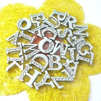 650pcs 8mm A-Z letters silde charms fit pet dog cat tag collar wristband
