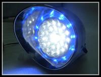 blue Chrome LED Headlight w/ Blue Angel Eye for Harley  Chopper Touring Dyna Glide Softail Sportster Road King