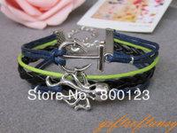 Octopus Bracelet-Antique Silver Octopus Bracelet,  Black Braid and Navy Blue Wax Cords Bracelet-C262