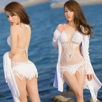 FREE SHIPPING  hot spring swimwear fashion sexy swimwear handmade fishing net cutout knitted bikini twinset