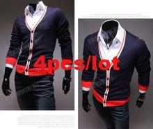4pcs/lot New Men's Sweater Fashion Knitted Sweater Shirts Cardigans Button V Neck Jacket free shipping 10132(China (Mainland))