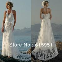 Luxurious halter neckline ribbon belt lace appliqued long train casual beach wedding dress JY306