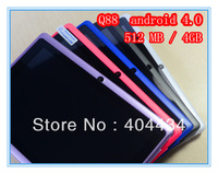 10pcs/lot Q88 7 inch Allwinner A13 Q88 Android 4.0.3 Tablet PC  multi touch capacitive screen 512MB 4GB Camera 3G Wifi
