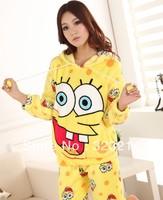 Free Shipping Cute sponge bob cotton Pajamas sets women nightclothes sleepwear warmer  pajamas