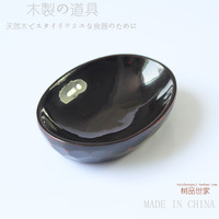 Wooden lacquer plate wood oval soy sauce dish small wooden dish tableware vinegar dish