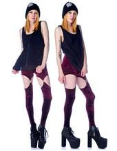 Free shipping fashion wine red sexy geometric flannel garter legging pants patchwork pants leggings