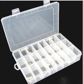 Free Shipping Adjustable 24 Compartment Plastic Storage Box Jewelry Earring Tool Container(China (Mainland))