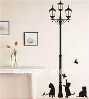 10pcs mixed Free Shipping HL-1543 34*68cm Popular Ancient Lamp Cats and Birds Wall Sticker Wall Mural Home Decor Room Kids