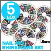 5 Boxes 1800 Pcs 12 Color GLITTER Round 1.5mm RHINESTONES Wheel Nail Art Tip Set