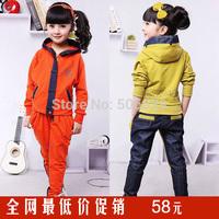 Girls clothing 2014 autumn denim patchwork casual sports set child harem pants twinset