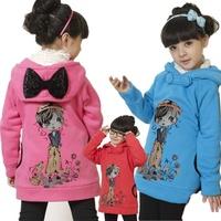 Children's clothing female child 2012 autumn two ways fleece large sweatshirt outerwear female big ploughboys 11d1109