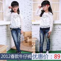 Children's clothing female child 2012 autumn fashion jeans ab pants 12a105
