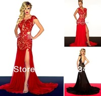 Wholesale - 2013 Special Occasions Prom Dresses Cap Sleeve Red/Black Lace Long Slit Front Open Back Evening Dresses 663La