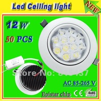Free shipping 50 pcs/lot 1200 lumen Epistar 12x1w 12w recessed ceiling downlight aluminum shell ac 85-265v warm / white light