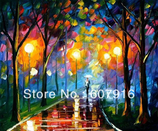 Modern Art Evening Park knife scenery oil painting 20x24 inch(China (Mainland))