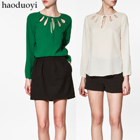 freeshipping Haoduoyi chest fan-shaped cutout thick chiffon solid color long-sleeve women&#39;s shirt 3 6 full for women