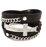 Latest Unique Real Leather Metal Chain Crystal Rhinestone Sideways Cross Wrap Bracelet   24pcs/lot Free Shipping