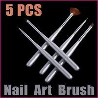 5sets/lot   5PCS Silver Nail Art Builder Brush Set  Professional Nail Tools Dotting Design Pen , Free Shipping Wholesale