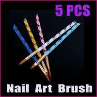 5 sets/lot 5PCS   2-Ways Colorful  Acrylic Nail Art  Brush Dottings Tools Pen Nail Tools Cuticle Tips Set Wholesale