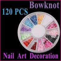 120 PCS Multicolor Bowknot  Nail Art Nail Tips Slice Nail  Rhinestone Decoration Wheel Wholesale